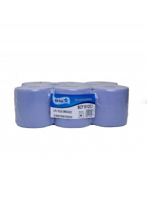 Sirius Blue 2 Ply Centre feed Blue Roll Case Of 6  BCF1812E2
