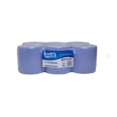 Sirius BCF1812E2 Centrefeed Rolls Blue 2-Ply Pack of 6