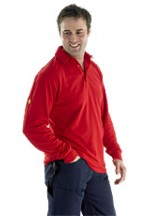 Click flame retardent polo long sleeve red