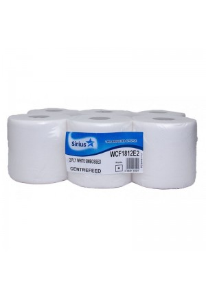 Sirius White 2 Ply Centre feed White Roll Case Of 6  WCF1812E2